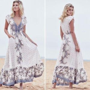 Jaase Gemstone Print Carmen Maxi Dress Cream Blue